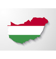 hungary country map with shadow effect vector image vector image