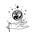 magic crystal ball with hand isolated on white vector image vector image