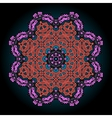 Mandala in pink and red over black background with vector image vector image