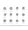 message goal and personal targeting line icons set vector image