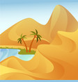 oasis with palm trees at desert with sand hills vector image vector image