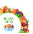 organic fruits circle background cartoon vector image