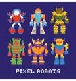 pixel art isolated robots set vector image vector image
