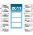 Quarterly Wall Calendar for 2017 vector image vector image