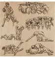 rugby - an hand drawn collection line art pack vector image