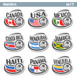 set icons flags american national teams vector image