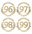 set of golden anniversary emblems vector image vector image