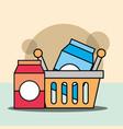 shopping basket package milk or juice vector image