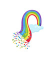 small blue sky with multicolored rainbow flat vector image vector image