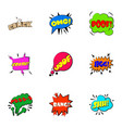 trendy phrase icons set cartoon style vector image