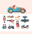 vintage toys tractor aircraft wooden cubes vector image vector image