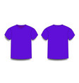 violet male t-shirt template v-neck front and vector image
