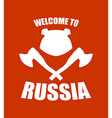 Welcome to Russia Emblem of angry head bear and vector image vector image
