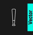 white line baseball bat icon isolated on black vector image vector image