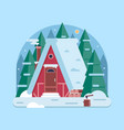 winter forest house with chimney vector image vector image