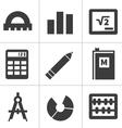 Monochrome flat maths icons vector image