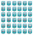 blue web icons set vector image