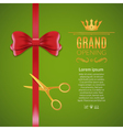Grand Opening red ribbon and bow Open ceremony vector image