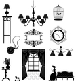 Retro furniture silhouettes vector image