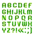 Alphabet folded paper - Green letters vector image vector image