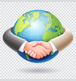business people handshake around the world globe vector image vector image