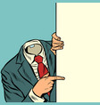 businessman pointing at copy space background vector image vector image
