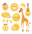 card with yellow objects vector image vector image
