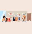 cartoon female customer inside trendy clothes vector image vector image