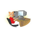 cat using a computer vector image vector image