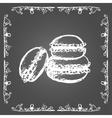 Chalk macarons and vintage frame vector image vector image