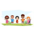 children of different disabilities pose greet vector image vector image