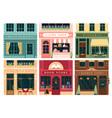 city building vintage facade set cartoon house vector image vector image