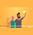 couple using cellphone man woman taking selfie vector image vector image