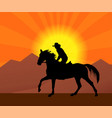 cowboy riding a horse in a sunset silhouette vector image