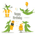 cute dragon celebrating birthday vector image vector image