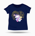 cute unicorn on t shirt kids template vector image