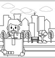 delivery service cartoon in black and white vector image vector image