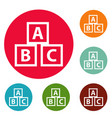 education abc blocks icons circle set vector image