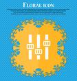 Equalizer icon Floral flat design on a blue vector image