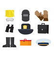 equipment of professions on whitey background vector image vector image