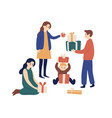 family members or relatives exchanging festive vector image vector image