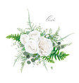 floral bouquet ivory white rose greenery leaves vector image