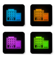 glowing neon hotel building icon isolated on vector image