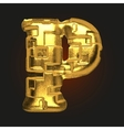 golden letter p vector image vector image