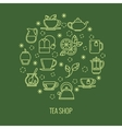 Green tea outline icons in circle design Trendy vector image vector image