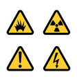 hazard warning sign icon set on white background vector image vector image
