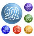 heart pretzel icons set vector image
