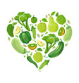 heart with green vegetabels and fruits vector image