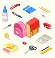 isometric stationeries and vector image vector image