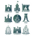 logo with castle and towers at flags coat arms vector image